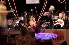 """Aging Rockstar Ball"" (Riverstone Images) Tags: light color halloween musicians drums neon dancing stage guitars spinning rockband hulahoop guitarist musicalinstruments halloweendanceparty agingrockstarball thenavels"