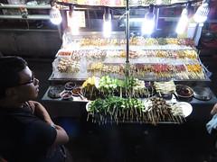 Sataystall (PJHarrison) Tags: street travel food singapore southeastasia market malaysia dining satay hawkers skewers