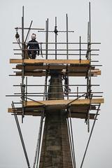 vertigo? no! (RCB4J) Tags: man building art church face photography scotland high sandstone scaffolding candid altitude vertigo steeple professional repair record worker weathervane height ayrshire steeplejack villagelife churchofscotland newmilns irvinevalley sigma150500mmf563dgoshsm ronniebarron rcb4j loudonchurch sonyilca77m2