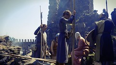 Living History at Beeston Castle II (ian.williams040) Tags: old blue red summer sky people orange sun colour green history film sony sunny landmark medieval clothes knight technicolor squire reenactment peasant beestoncastle englishheritage maxcurves sonya6000