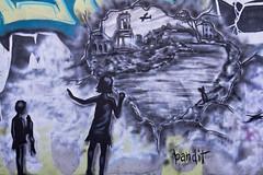 Bandit Wreckage of War7 (Brett Landrum) Tags: california street urban streetart abstract art abandoned canon photography graffiti photo losangeles los stencil angeles abstractart spray urbanart abandonedhouse spraypaint bandit vernon stencilart dtla graffitiart sprayart canon7d banditstreetart banditart