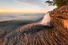Elliot Falls Sunset - Miners Beach (2016-06-16 1368) (bechtelsf) Tags: light sunset sky texture waterfall nikon michigan shore upperpeninsula picturedrocksnationallakeshore d810