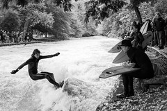 Surfing the river (Bckpck Photography) Tags: street city bw white black water hat sport river germany munich mnchen deutschland surf