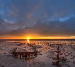 Shipwreck the Praam ( Wierum ) (Remo Sloof) Tags: sunrise exposure goldenhour