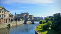 Royal Swedish opera Sweden Stockholm   Sunny hot day (Muhamad Hilal) Tags: bridge summer sky water river europe european sweden stockholm sunny greenish blueish swdeish royalswedishoperaswedenstockholmsunnyhotday