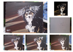Unfolding Vision (theGR0WLER) Tags: paint acrylic amateur dog animal photo stage black white brown yellow grey canvas