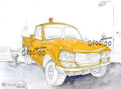 Ile d'Yeu, Port Joinville, la 504x4 (Croctoo) Tags: croctoo croctofr craýon aquarelle 504 peugeot pickup auto yeu croquis