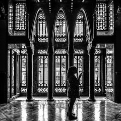 Palau Guell Screen (derek.dpr) Tags: windows bw black detail window monochrome silhouette architecture mono design noir decorative interior decoration olympus screen architectural gaudi guell bianco nero palau omd palauguell em5