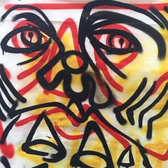 Closeup (Krillinator) Tags: street red summer sun white black colour detail art face lines yellow closeup illustration composition self work painting paper outside outdoors layout graffiti student paint artist different hand bright personal drawing expression contemporary background creative free vivid surreal style images spray illustrative line marks size illustrator draw outlines simple produced bold foreground individual 2016