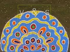 Colorful Rangoli (yoyogyogi) Tags: blue red orange india color green colors lines yellow stone religious soft graphic drawing stones religion shapes culture ground powder line celebration forms maharashtra form tradition shape celebrate pound pune rangoli pounding payacom