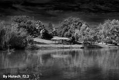 Sumsion BBQ across the Lake II (Hutech_f2.2 (I'm staying too!)) Tags: trees blackandwhite abstract art clouds landscape infraredeffect australia wodonga belvoirpark nikond700 sumsionlake