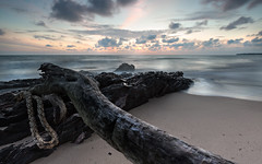 Misty waves sunrise (Alex C O Lim) Tags: blue vacation beach clouds sunrise dawn seaside movement colorful waves malaysia slowshutter bluehour heavens johor southchinasea fireinthesky desarubeach mistyrocks