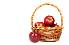 juicy apples in basket (Francis Jimnez Meca) Tags: autumn red stilllife plant apple nature horizontal closeup fruit season leaf basket bio nobody whitebackground studioshot organic wicker biology isolated freshness ripe harvesting healthyeating vegetarianfood jonagold jute singleobject colorimage healthylifestyle