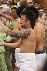 Tattooed arm (rokclmb) Tags: beach festival japan tattoo japanese kamakura celebration kanagawa matsuri mikoshi zaimokuza rokclmb jessederiksen