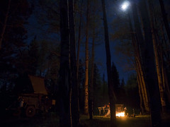 Moonlit Camp (Chazz Layne) Tags: camping camp arizona white mountain mountains expedition forest geotagged fire site apache dani rover tent reservoir campfire national land trailer exploration discovery wandering mule campsite overland the nf geo:lat=3400119744 geo:lon=10950498253