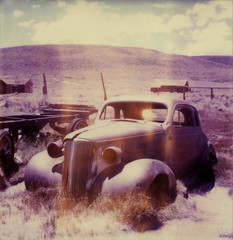 '37 Chevy at Bodie (tobysx70) Tags: auto california park ca day2 toby summer chevrolet abandoned film car polaroid sx70 town rust automobile mine state time decay ghost rusty july historic mining chevy week bodie 37 hancock expired 70 zero arrested 0504 1937 timezero sx roid 2013 roidweek 71313 polawalk tobyhancock polaroadtrip