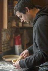 pumpkin pie (*Jilltoo) Tags: food man cooking kitchen bench pie chef getty pumpkinpie flour rolling rollingpin cookery realpeople homekitchen