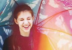 68/100 (Mary Jo.) Tags: red smile yellow umbrella canon happy rebel 50mm mj lightleak xs f18 maryjo 68100 100daysofsummer