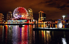 Salute to Hayao Miyazaki (宮﨑駿 みやざき はやお) - Remake of The Mysterious Water Bus Station at Night (@Vancouver Science World) (Hayao Miyazaki Version) (TOTORORO.RORO) Tags: travel light shadow red white canada reflection building bus tourism water colors silhouette mystery night vancouver marina reflections booth bench walking lens living pier boat rainbow dock downtown bc view zoom cloudy harbour britishcolumbia ripple empty seat sony shoreline wave scene tourist story trail highrise falsecreek handheld alpha popular visitor fraserriver hdr attractions retractable scienceworld oss studioghibli nex greatervancouver mirrorless powerzoom 1650mm nex6 selp1650 tgam:photodesk=colour2013
