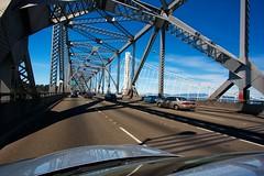 Cantilever Bay Bridge 15 (robhartung) Tags: sanfrancisco bridge blue sky cars clouds oakland bay construction iron day steel cantilever canonrebelxsi