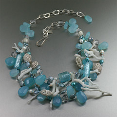 Blue Chalcedony White Coral Necklace (johnsbrana) Tags: necklace venetianglass chalcedony beadednecklace whitecoral crystalquartz bluenecklace gemstonenecklace beadedgemstonenecklace stickcoral chalcedonynecklace