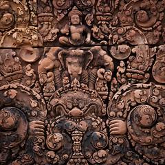 KHM - Siem Reap - Siem Reap - 20080907 153235 - Banteay Srei 00012.jpg (RMEIKLEJ) Tags: sculpture square holidays cambodia squares relief event siemreap technique khm thailandcambodia