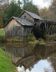 Mabry Mill Reflection Portrait (scun11) Tags: statepark park autumn trees color reflection building fall mill nature water grass leaves canon landscape virginia pond afternoon structure foliage va mabrymill
