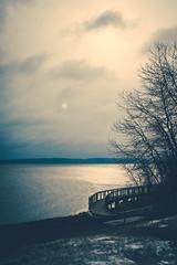 Gloomy winter (Patrick Chondon) Tags: winter sun bench gloomy boardwalk lakesuperior