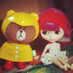 ปีโป้ กะ หมีบราว กำลังทำความรู้จักกัน >,,< #Brown #line #doll #blythe #ブライス #Neoblythe