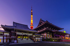 First Visit of 2014 to a Temple (45tmr) Tags: city nightphotography japan night landscape temple tokyo twilight cityscape nightscape pentax tokyotower 東京 夜景 東京タワー k5 増上寺 薄暮 pentaxk5