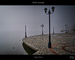 Misty musings (Nikos O'Nick) Tags: mist lake misty fog contrast nikon pavement gulls hellas nikos greece nikkor hdr musings lamposts kastoria  1835mm optimizer   onick    d300s   kotanidis