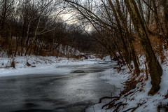 On Thin Ice (Majtek862) Tags: morning trees winter light white snow cold ice nature wet water weather rural creek reflections river landscape frozen weeds woods melting stream atmosphere hills erosion kansascity textures missouri valley backlit wetland underbrush streambank
