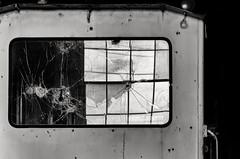 broken window in cracked window (fallsroad) Tags: blackandwhite bw reflection abandoned broken window train decay rail sandspringsoklahoma sandspringsrailway nikond7000