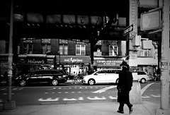 Windowless Watcher (Robert S. Photography) Tags: street nyc bw signs man window monochrome brooklyn spring samsung stores 2014 crossingstreet newutrech undersubway st150f