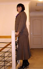 Dressed For Work (4) (Furre Ausse) Tags: winter brown black work belt purple boots coat skirt blouse full business suit bow satin length tweed career overcoat