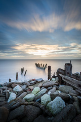Spurn Head (Draws_With_Light) Tags: winter sea beach water sunrise season landscape seaside structures places scene coastline filters groynes spurnhead lee09ndhardgrad leelittlestopper