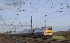 91115 Copmanthorpe 01/02/2015 (Flash_3939) Tags: york uk electric train silver grey first rail railway locomotive february blunt slab eastcoast flyingscotsman eastcoastmainline 2015 copmanthorpe ecml 82205 class91 91115 bn10 blaydonraces bluntend