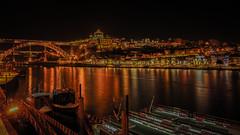 River side at night, Porto (HiRoAki Saneyociy Lunar) Tags: bridge reflection night river europe pentax euro porto douro      portugul 18135  k52  elduero odouro k5
