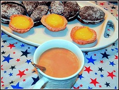 Desserts & Coffee - Photo by STEVEN CHATEAUNEUF - Taken On May 30, 2016 - (snc145) Tags: blue red stilllife brown white black cup coffee colors yellow stars photo colorful pretty purple beverage spoon pastry tablecloth caffeine soe platter autofocus editedimage lemontarts flickrunitedaward vividstriking stevenchateauneuf blackmoons may302016