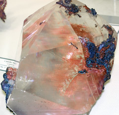 Native copper in calcite crystal (late Mesoproterozoic mineralization age, 1.05-1.06 Ga; Central Mine, Keweenaw Peninsula, Upper Peninsula of Michigan, USA) 3 (James St. John) Tags: lake mine michigan central copper series portage peninsula volcanic calcite keweenaw precambrian proterozoic mesoproterozoic