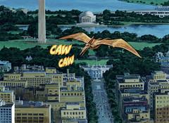 CAW CAW (Tom Simpson) Tags: illustration comics painting washingtondc dc dinosaur comicbook washingtonmonument pterodactyl pterosaur 2013 earlnorem dinosaursattack