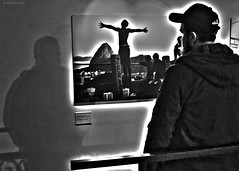 Favela, Horniman Museum, Forest Hill, London ( in B&W ) (MJ Reilly) Tags: shadow brazil blackandwhite bw london brasil museum canon photography noiretblanc exhibition ombre favela horniman s100 canons100