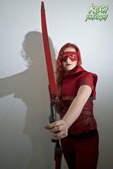 IMG_0368 (Neil Keogh Photography) Tags: red black female comics dc pants mask top jacket hero hood cosplayer dccomics armour merc redarrow mercenary bowarrow salfordcomiccon2016