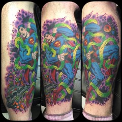 Jack Kirby Superman on my buddy Jason #jackkirby #supermantattoo #poochtattoo @eikondevice #symbeos @fusionink_ca