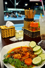 Tennis fare (Roving I) Tags: food sport vertical stew cucumber meat vietnam tennis dining carrots nightlife courts coriander cilantro cafes danang