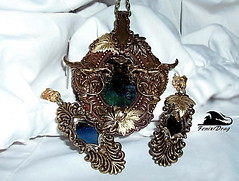 """Pendant and long earrings """"Reflection"""" with a mirror, Dragon and autumn leaves gilding Steampunk, Gothic, Victorian, Vintage style jewelry (fenixdrag) Tags: vintage mirror necklace dragon handmade pendant naturalstone filigree longearrings handmadejewelry vintagejewelry vintagependant victorianjewelry gothicjewelry handmadependant earringshandmade earringsgold creativeearrings steampunkjewelry victorianearrings gothicearrings steampunkpendant filigreependant victorianpendant gothicpendant pendantdragon earringsfiligree earringssteampunk earringsmirror pendantmirror mirrordragon"""