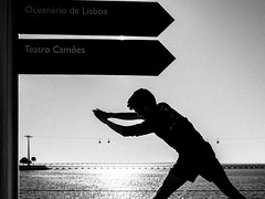 From Here to There... (pedroalves44) Tags: street city sea urban blackandwhite bw portugal sports public monochrome silhouette blackwhite lisboa lisbon candid streetphotography contrejour