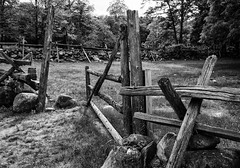 Barnyard gate (trochford) Tags: wood old blackandwhite bw usa monochrome stone wall canon fence eos mono blackwhite wooden nationalpark gate exterior outdoor massachusetts newengland rail historic barnyard concordma concordmassachusetts farmyard minutemannationalhistoricalpark lincolnma hartwelltavern lincolnmassachusetts