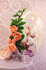 Polymer clay Chaenomeles (Mrs-Cloudia-S) Tags: pink flowers plant flower handmade pastel clay bouquet brooche headband polymer chaenomeles