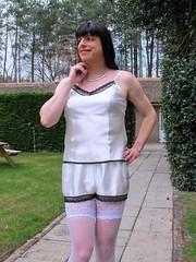 Shocking stocking (Paula Satijn) Tags: white hot cute sexy stockings girl garden knickers lace silk adorable tgirl transvestite satin cami silky camisole